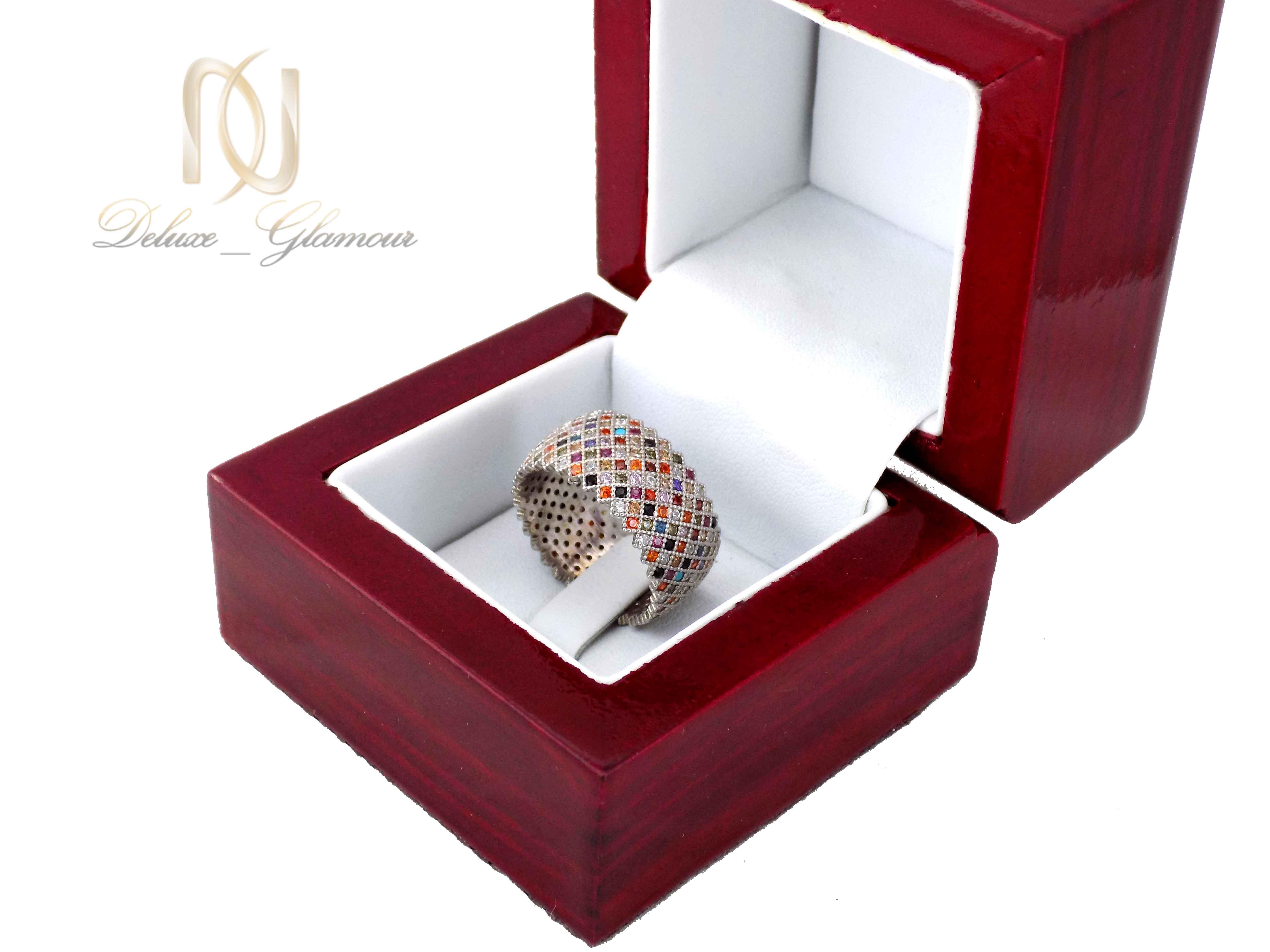 انگشتر زنانه نقره 925 طرح پرنس پر نگین rg-n323 از نمای بالا