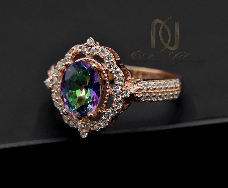 انگشتر نقره زنانه رزگلد نگین هفت رنگ rg-n327 از نمای مشکی