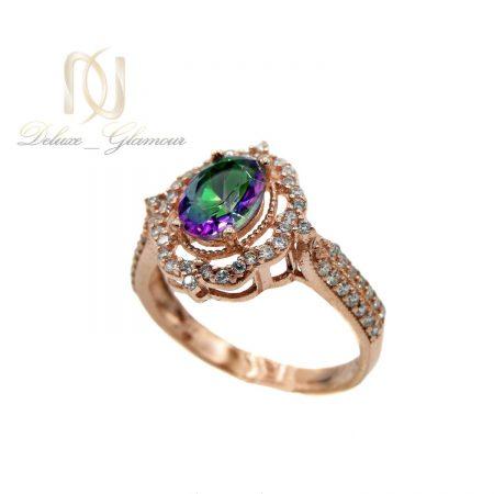 انگشتر نقره زنانه رزگلد نگین هفت رنگ rg-n327 از نمای سفید