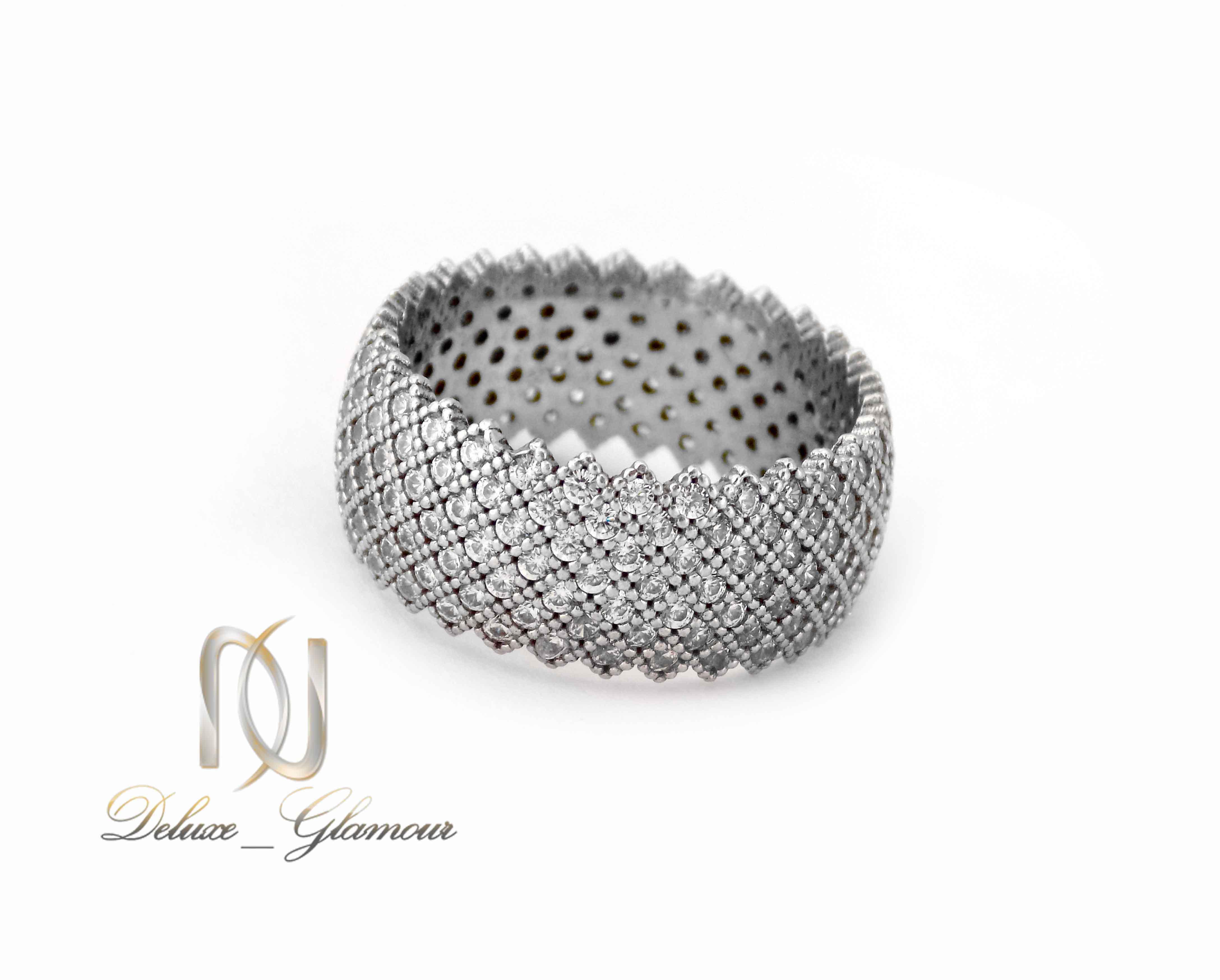 انگشتر نقره زنانه طرح حلقه پرنگین rg-n324 از نمای پایین
