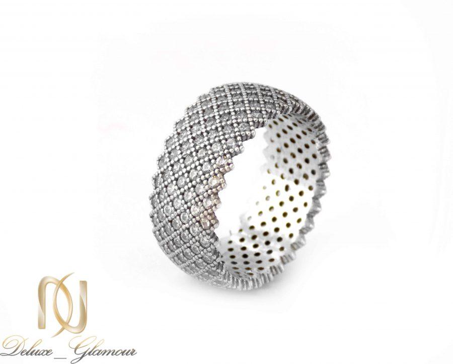 انگشتر نقره زنانه طرح حلقه پرنگین rg-n324 از نمای سفید