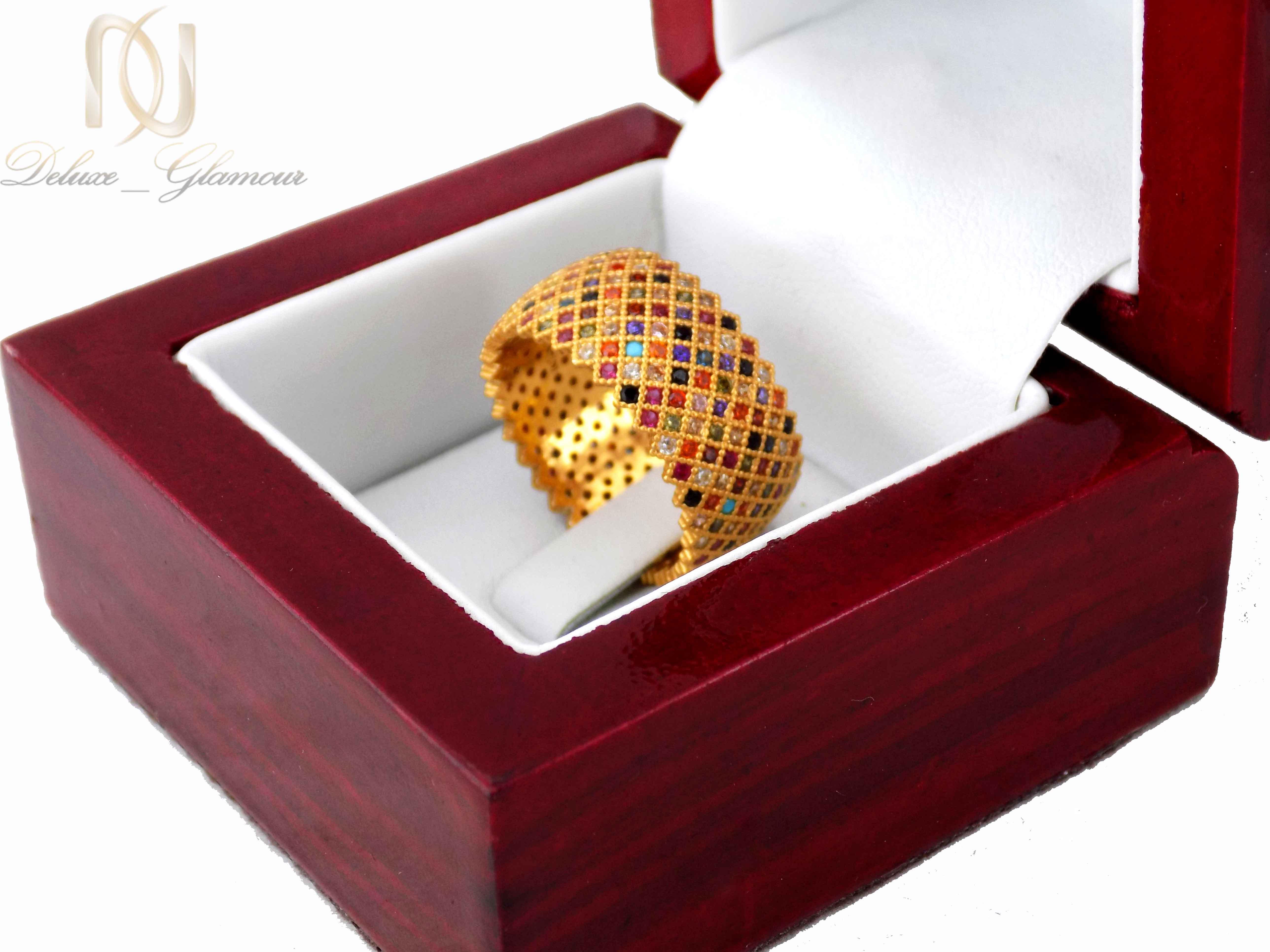 انگشتر نقره زنانه طرح پرنس طلایی rg-n322 از نمای کنار