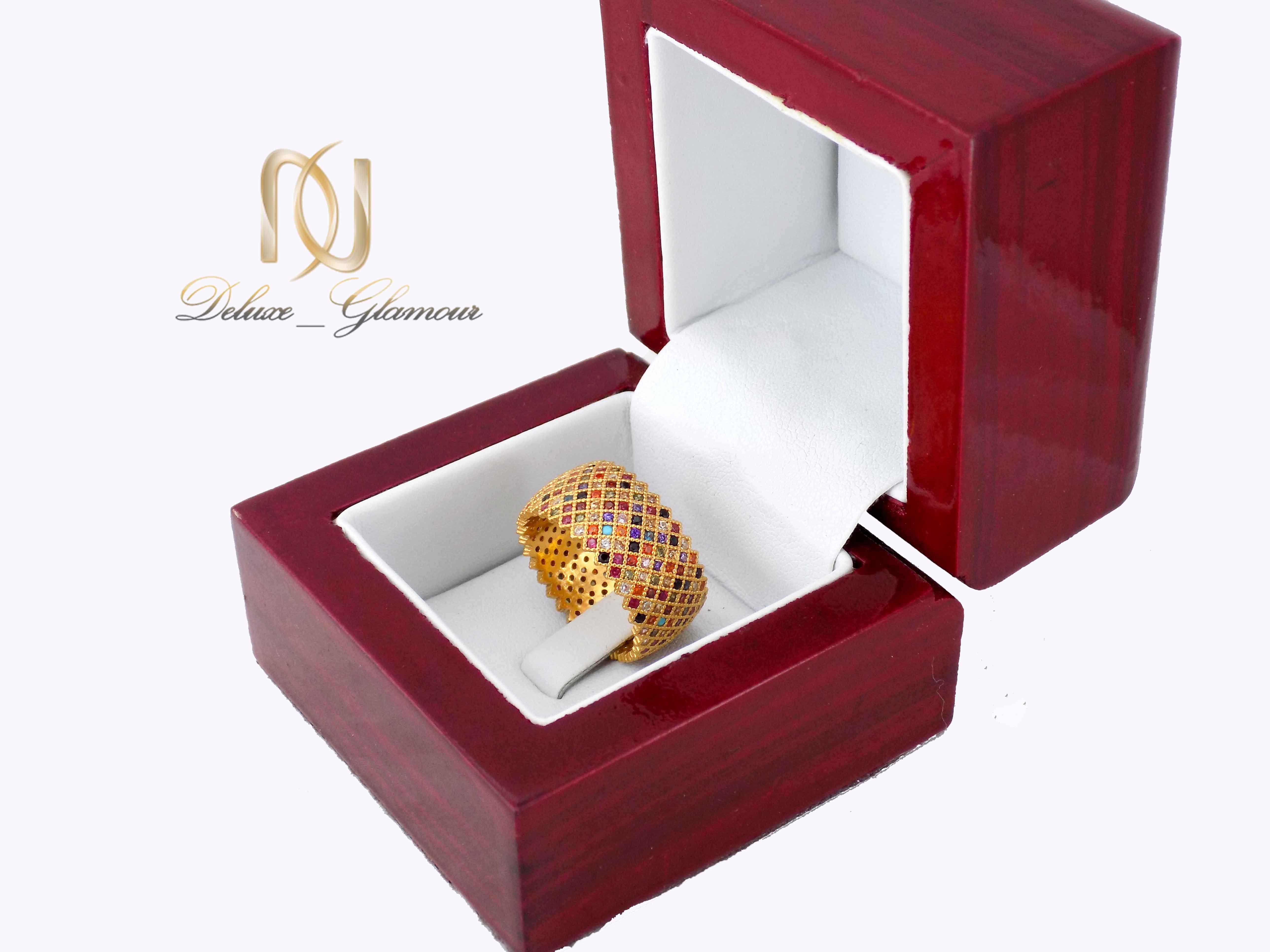 انگشتر نقره زنانه طرح پرنس طلایی rg-n322 از نمای بالا