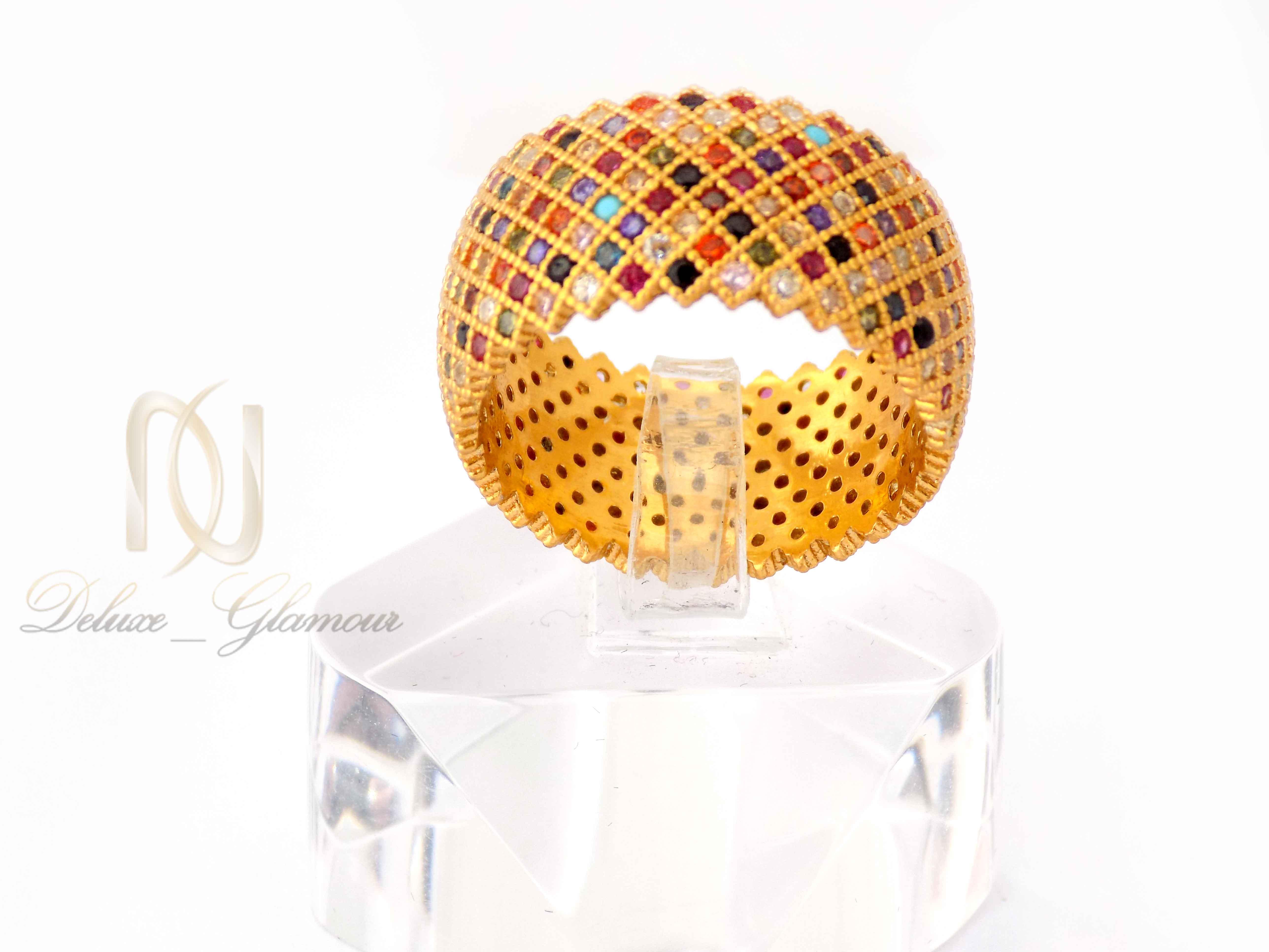 انگشتر نقره زنانه طرح پرنس طلایی rg-n322 از نمای روبرو