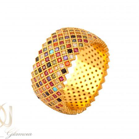 انگشتر نقره زنانه طرح پرنس طلایی rg-n322