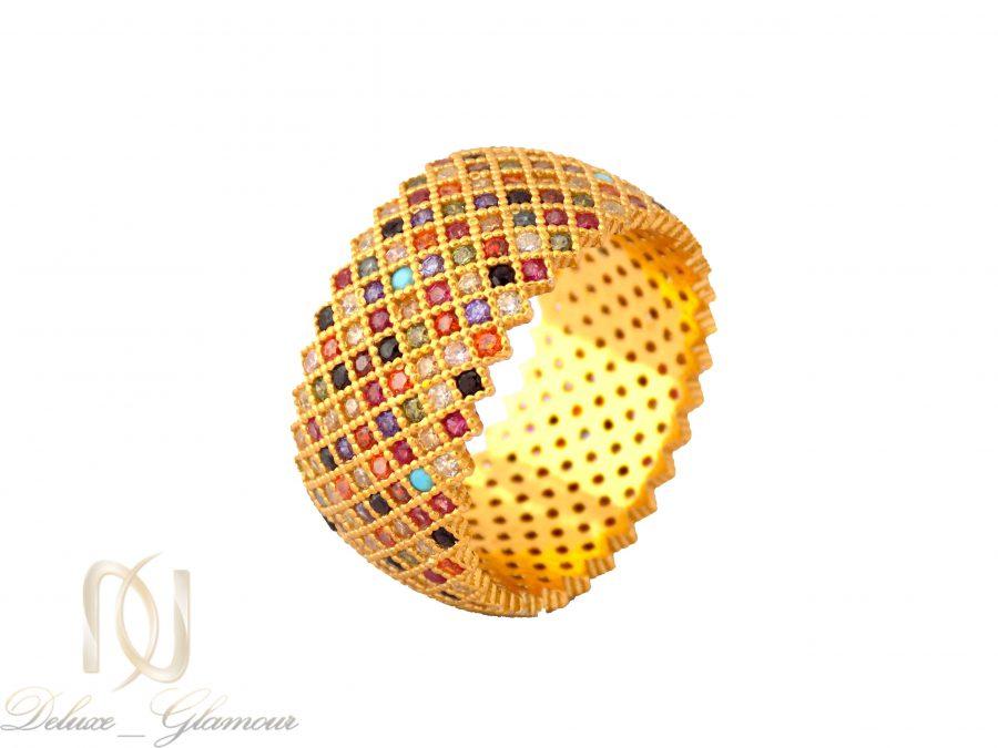 انگشتر نقره زنانه طرح پرنس طلایی rg-n322 از نمای سفید
