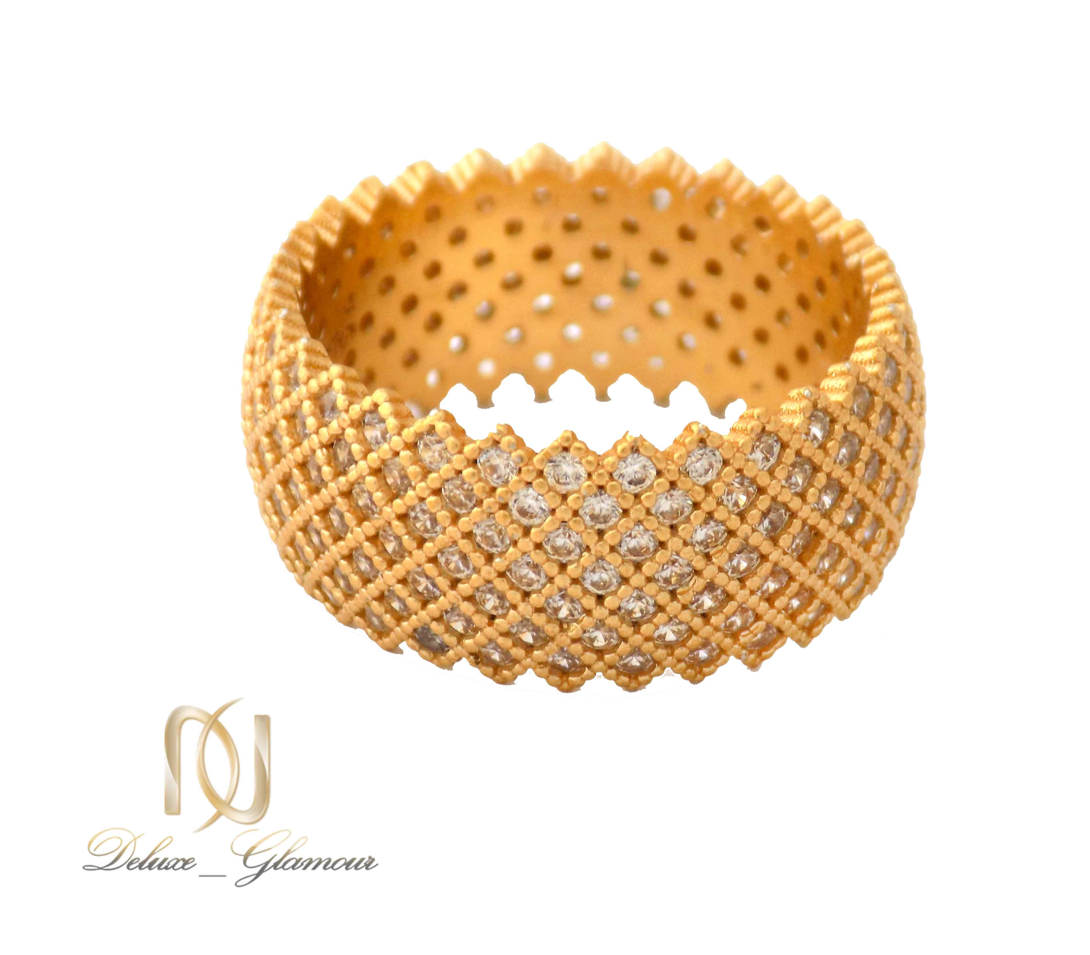 انگشتر نقره زنانه طلایی پرنگین طرح حلقه rg-n315 از نمای پایین
