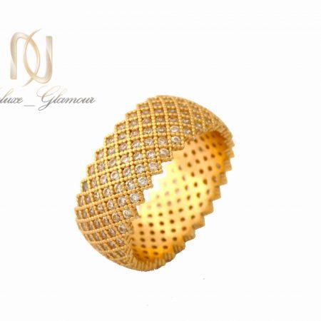 انگشتر نقره زنانه طلایی پرنگین طرح حلقه rg-n315 از نمای سفید