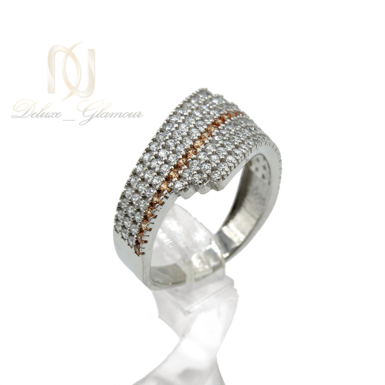 انگشتر نقره زنانه پرنگین طرح طلا سفید rg-n330 از نمای سفید