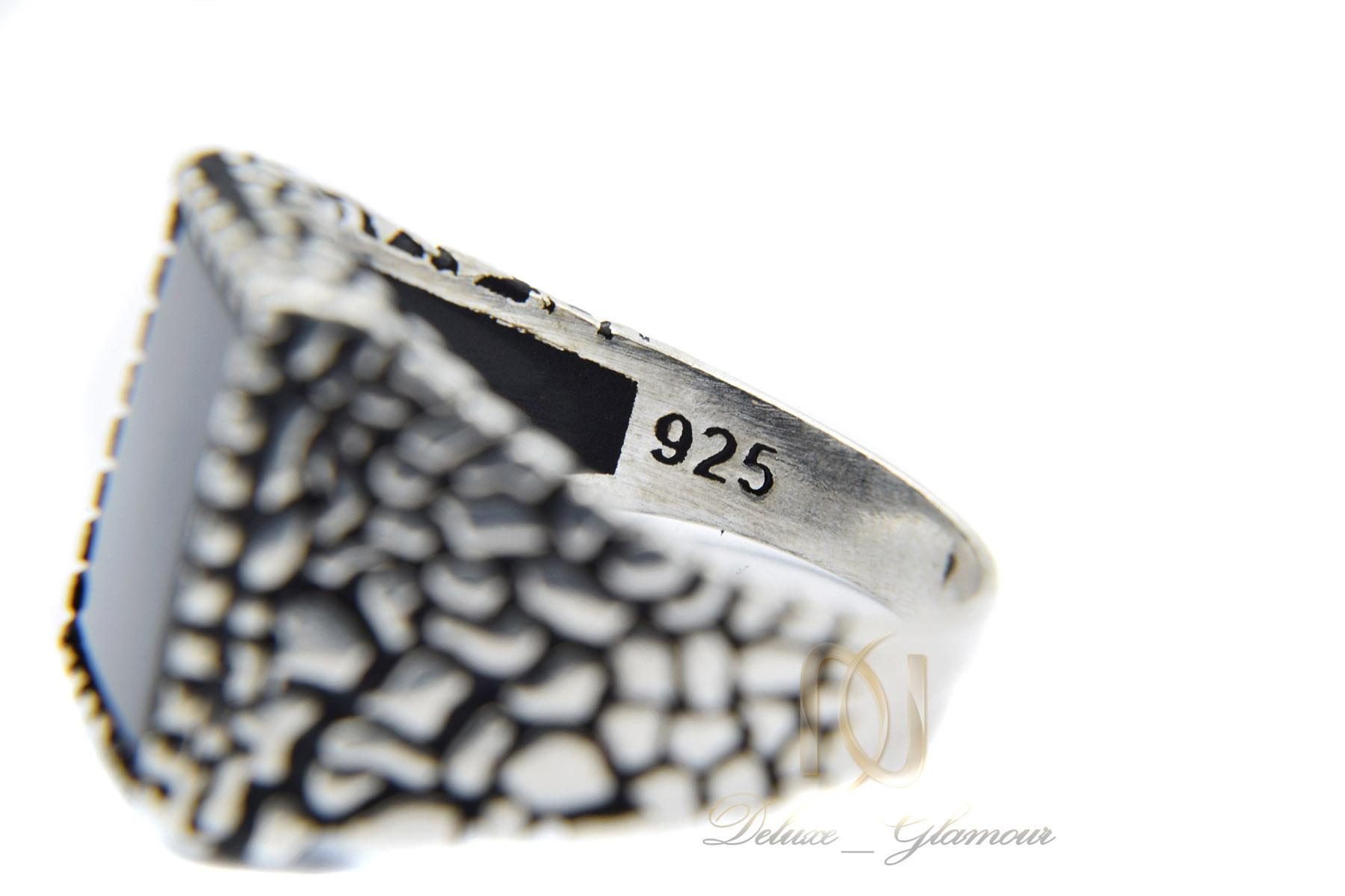انگشتر نقره مردانه اسپرت نگین عقیق rg-n319 از نمای داخل