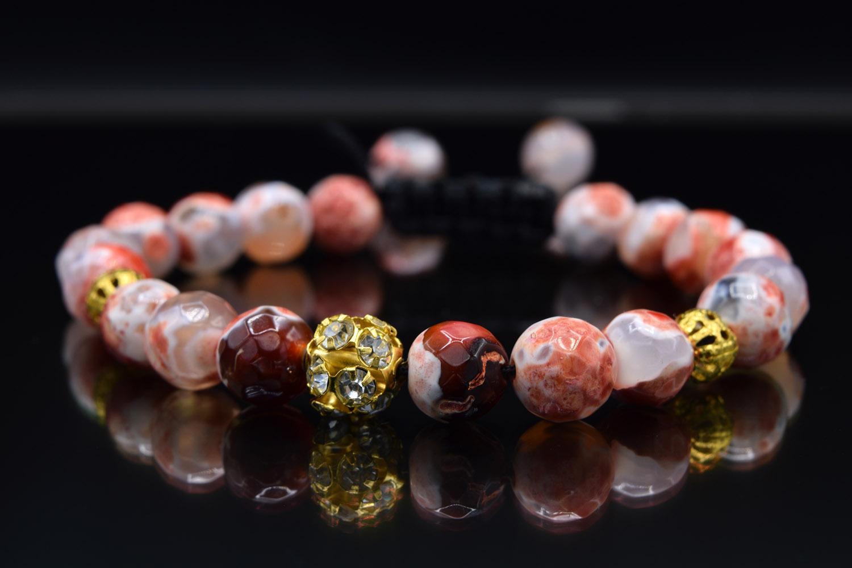 دستبند دخترانه اسپرت سنگ عقیق تراش za-n128 از نمای مشکی