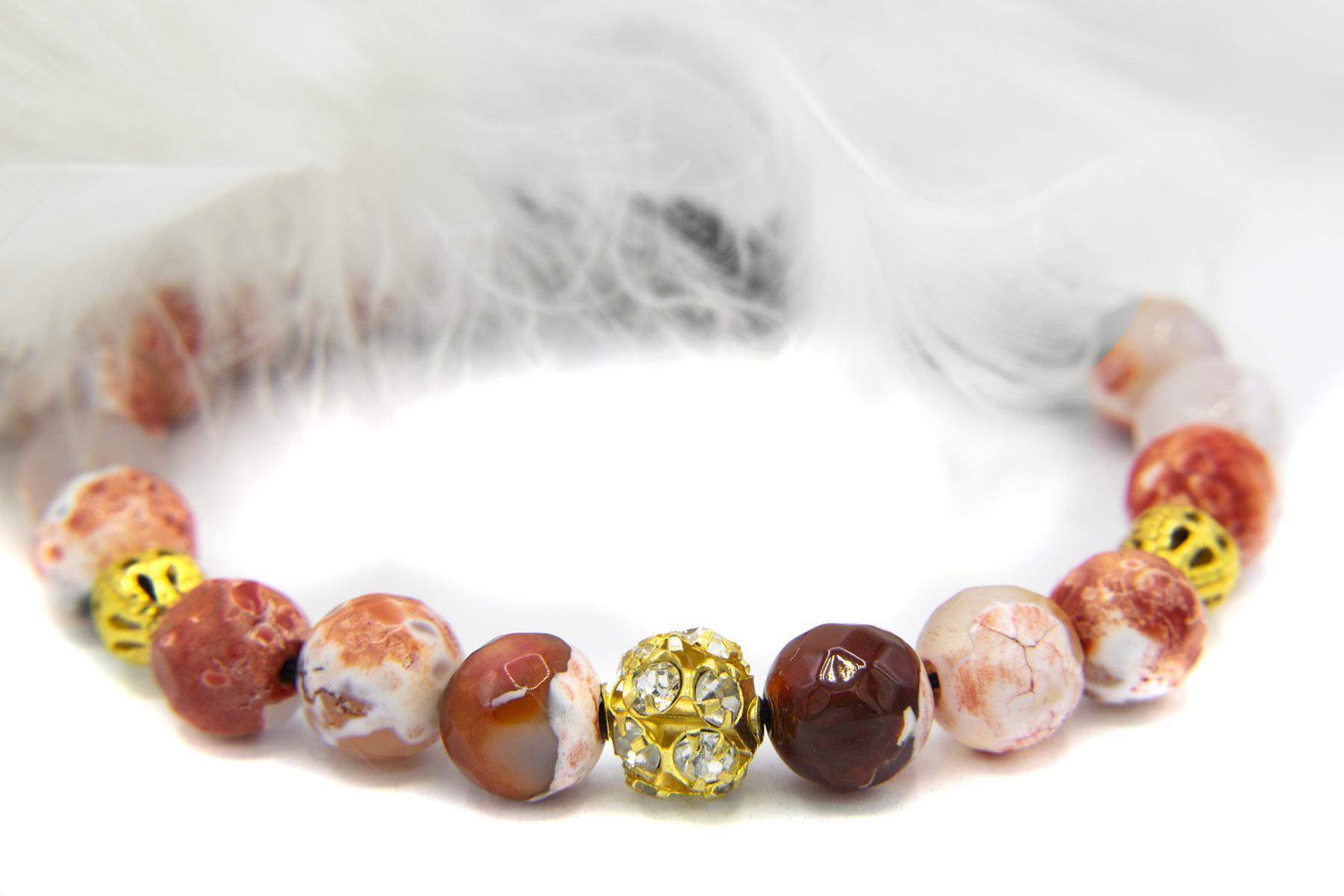 دستبند دخترانه اسپرت سنگ عقیق تراش za-n128 از نمای نزدیک