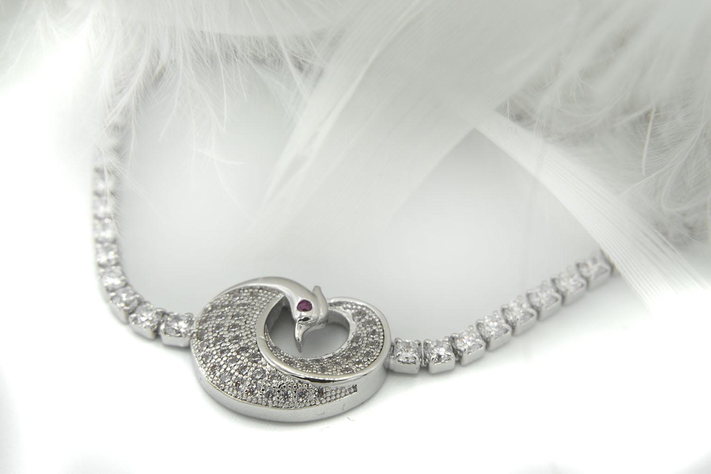 دستبند دخترانه طرح پرنده استیل مارشالی ds-n405 از نمای نزدیک