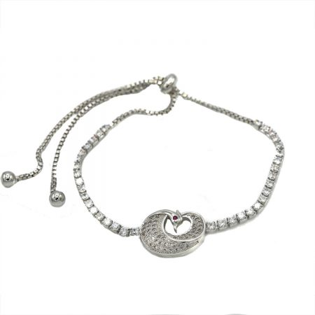 دستبند دخترانه طرح پرنده استیل مارشالی ds-n405 از نمای سفید