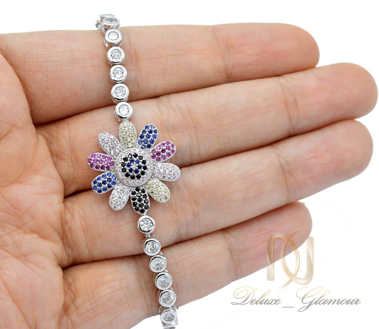 دستبند دخترانه نقره تایلندی طرح گل ds-n408