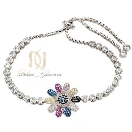 دستبند دخترانه نقره تایلندی طرح گل ds-n408 از نمای سفید
