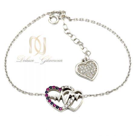 دستبند دخترانه نقره طرح ضربان قلب نگين دار ds-n412