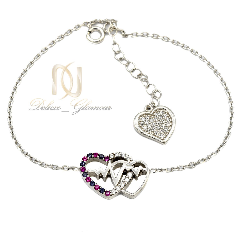 دستبند دخترانه نقره طرح ضربان قلب نگين دار ds-n412 از نماي سفيد
