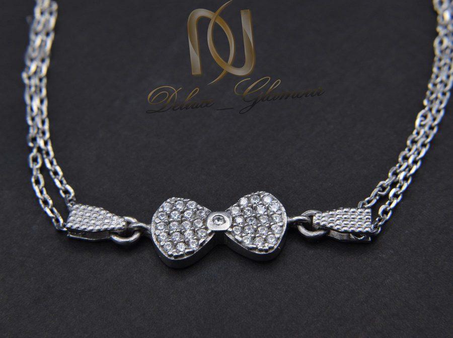دستبند دخترانه نقره ظریف طرح پاپیون ds-n445