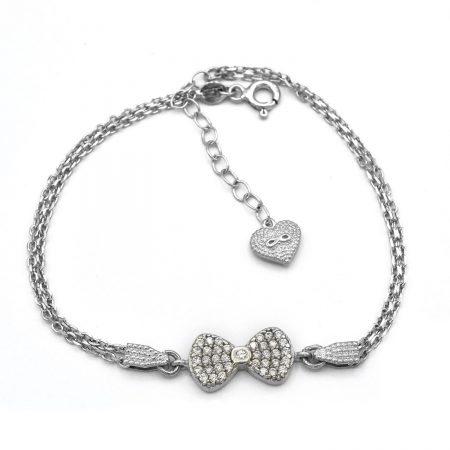 دستبند دخترانه نقره ظریف طرح پاپیون ds-n445 از نمای سفید