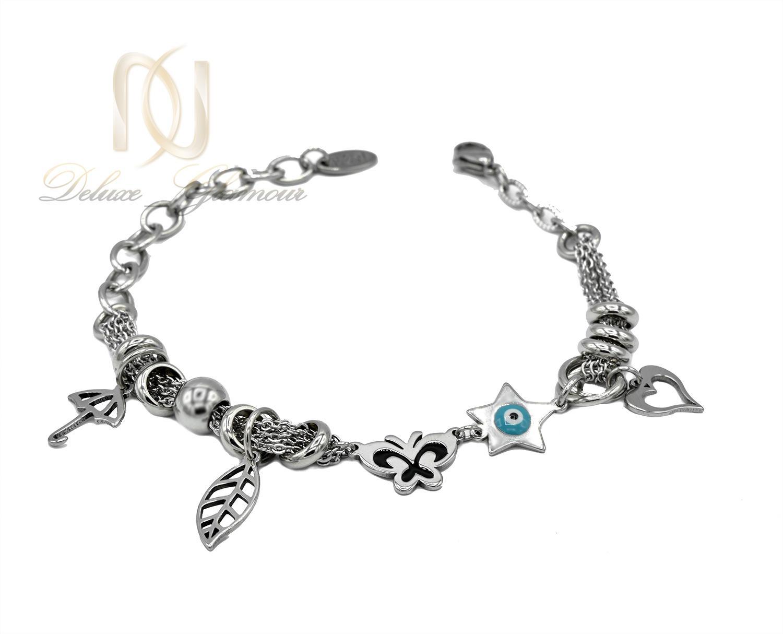 دستبند زنانه آویزدار استیل طرح چشم نظر ds-n430 از نمای پایین