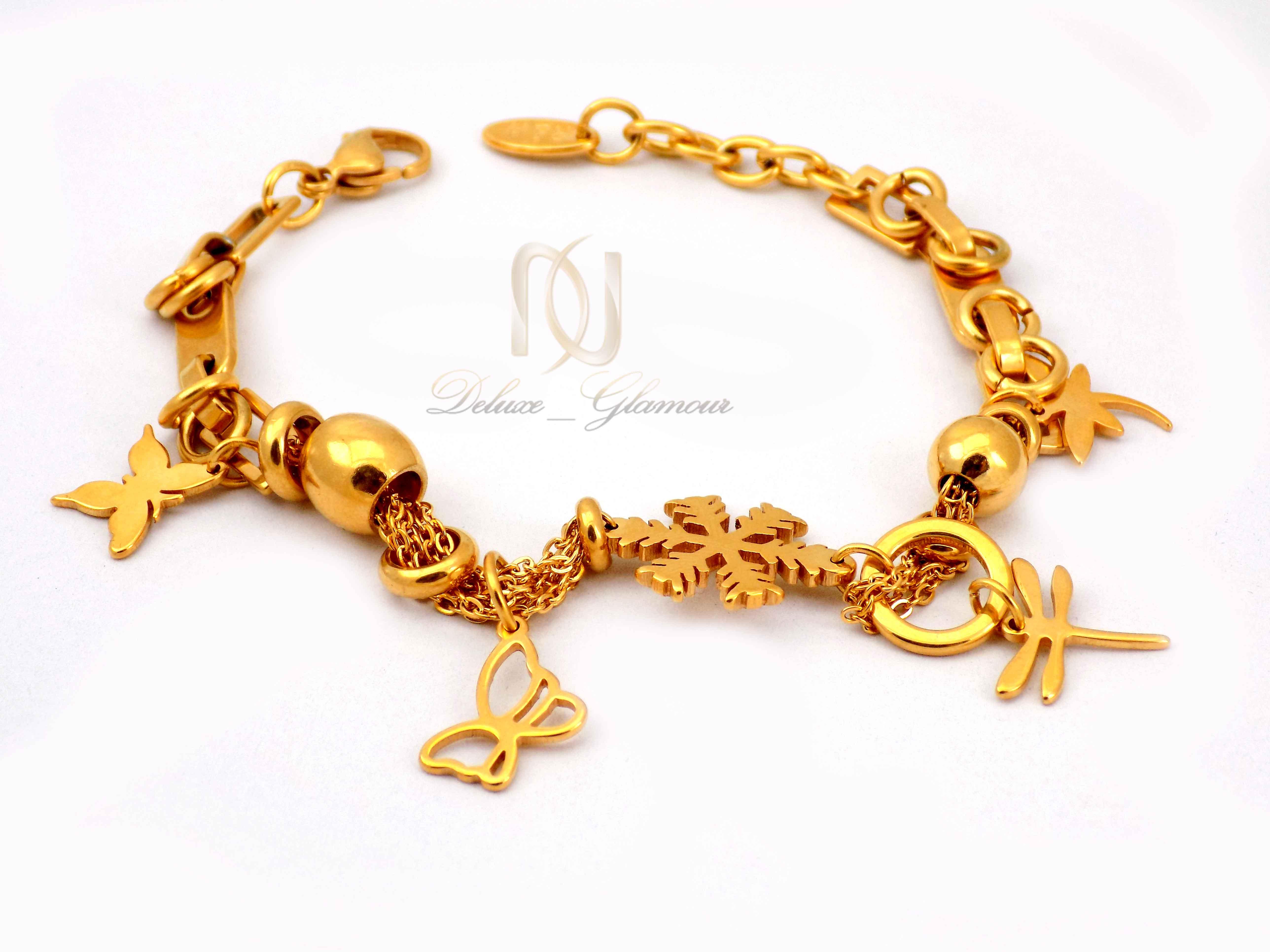 دستبند زنانه آویزدار طرح طلای استیل ds-n415 از نمای سفید