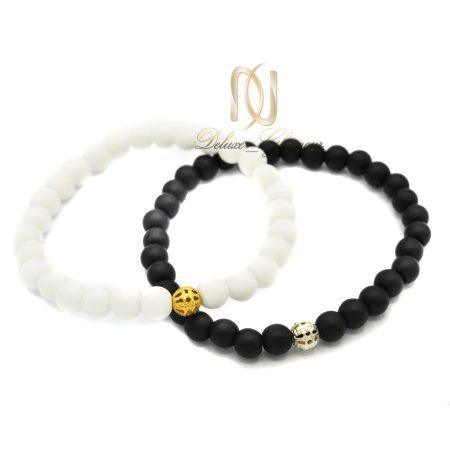 دستبند ست دخترانه و پسرانه اسپرت سنگ اونیکس za-n129 از نمای سفید