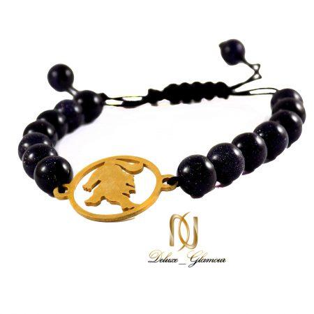 دستبند سنگ ماه تولد مرداد با نماد شیر ds-n437 از نمای کنار