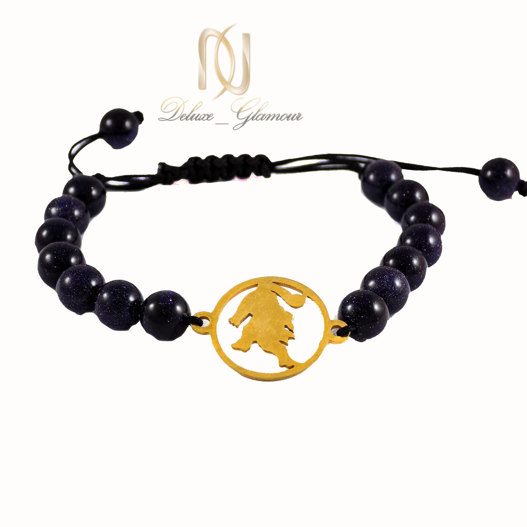 دستبند سنگ ماه تولد مرداد با نماد شیر ds-n437 از نمای روبرو