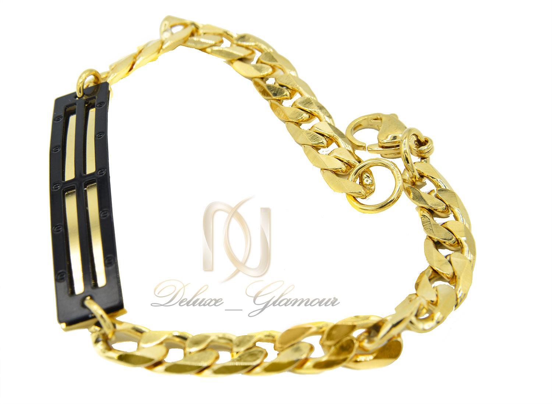 دستبند مردانه استیل طلایی طرح کارتیه ds-n425 از نمای کنار