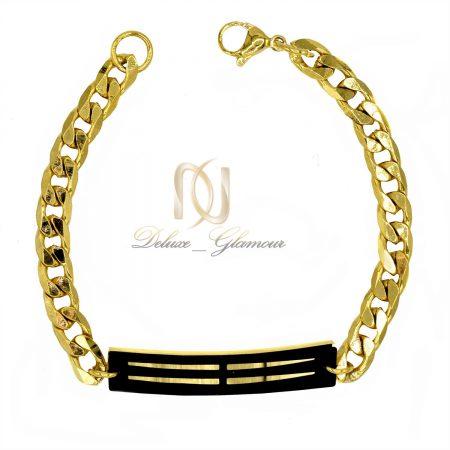 دستبند مردانه استیل طلایی طرح کارتیه ds-n425 از نمای سفید