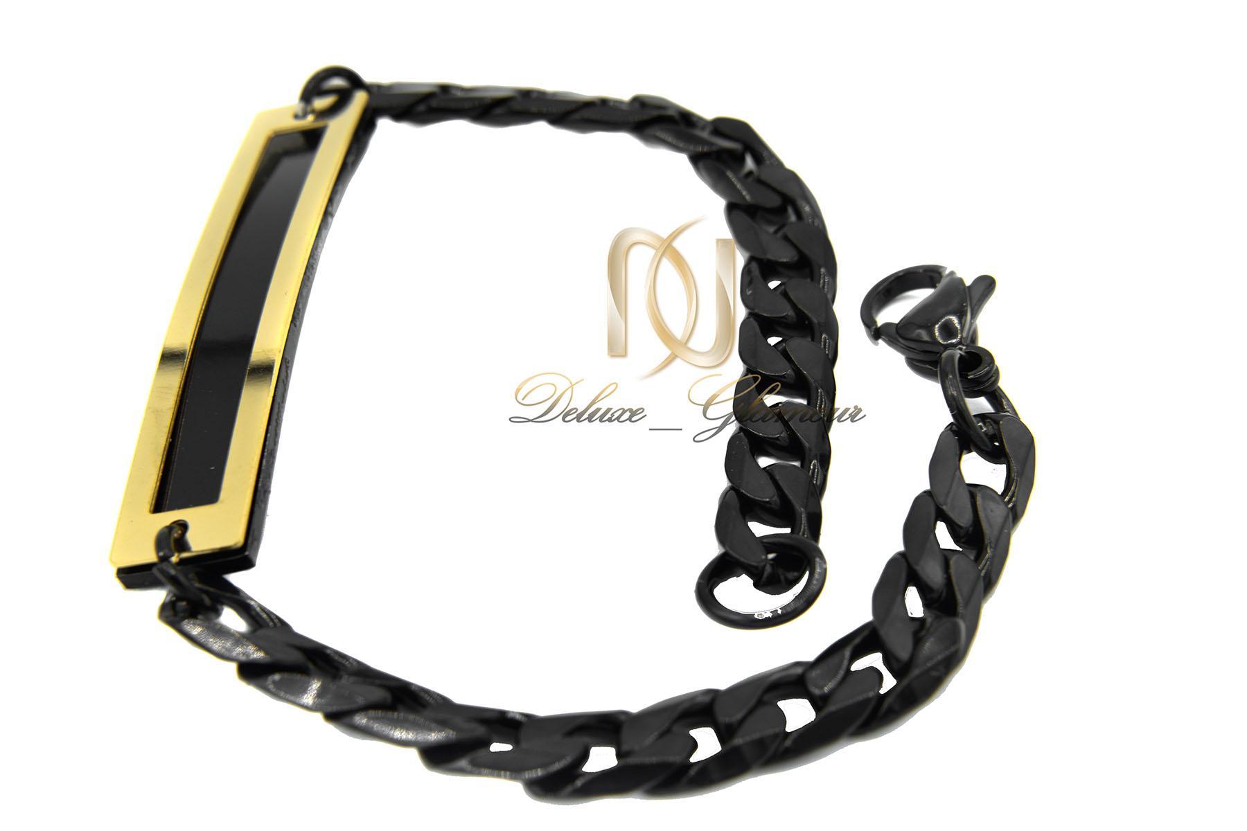 دستبند مردانه استیل مشکی شیک زنجیری ds-n427