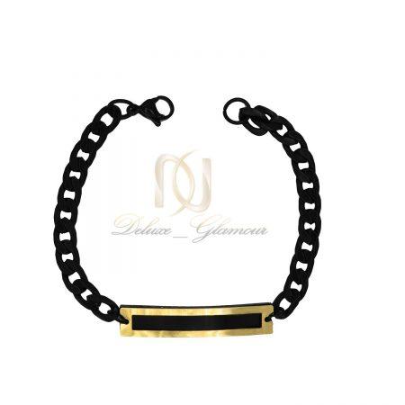 دستبند مردانه استیل مشکی شیک زنجیری ds-n427 از نمای سفید