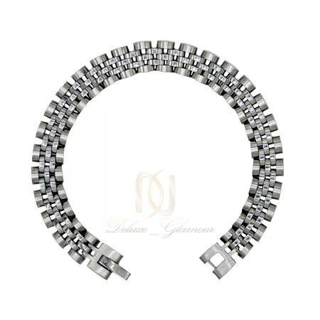 دستبند مردانه استیل نقره ای طرح رولکس ds-n424 از نمای سفید