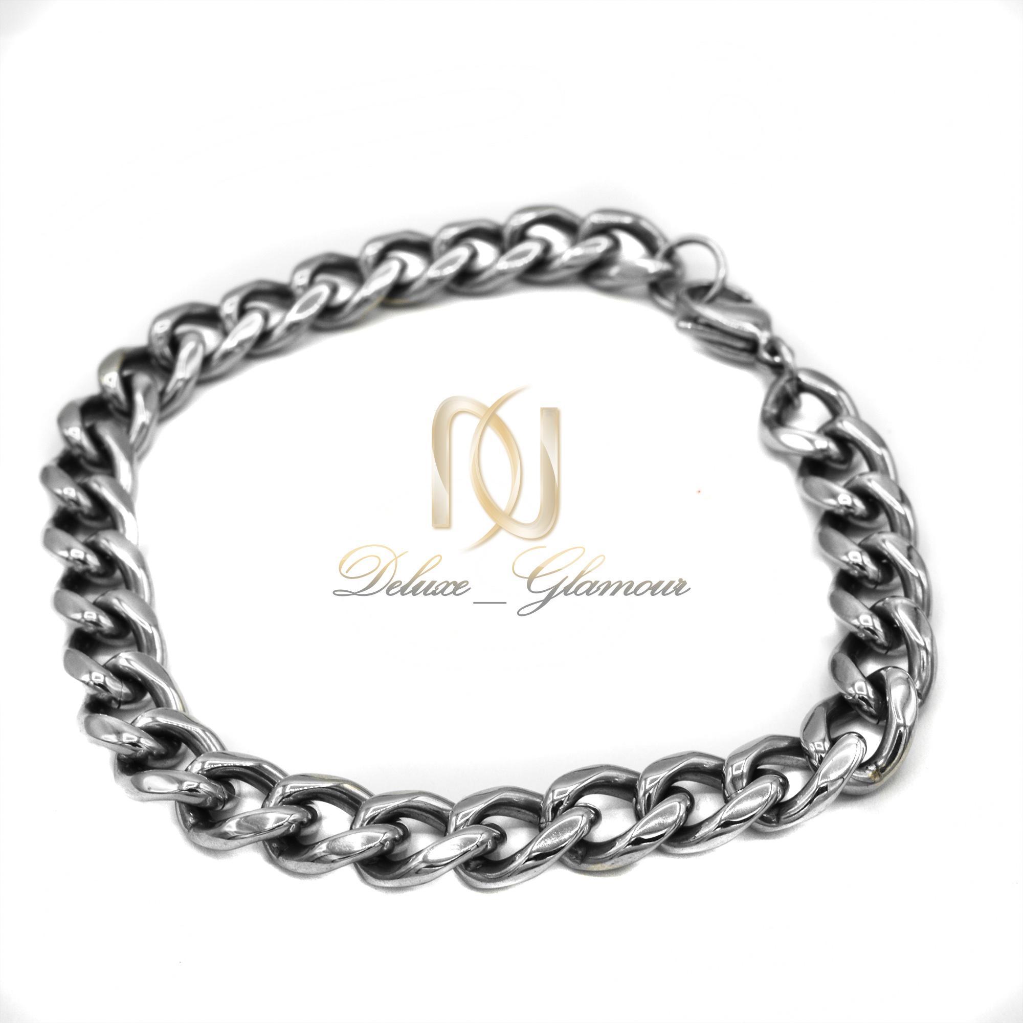 دستبند مردانه استیل نقره ای طرح زنجیری ds-n422 از نمای سفید