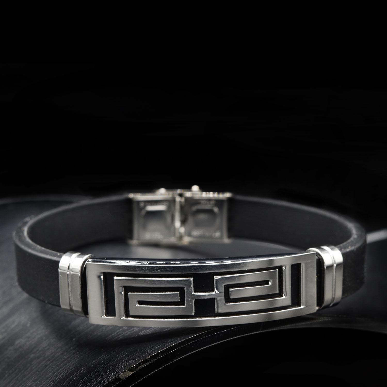 دستبند مردانه اسپرت رویه استیل ds-n438 از نمای مشکی