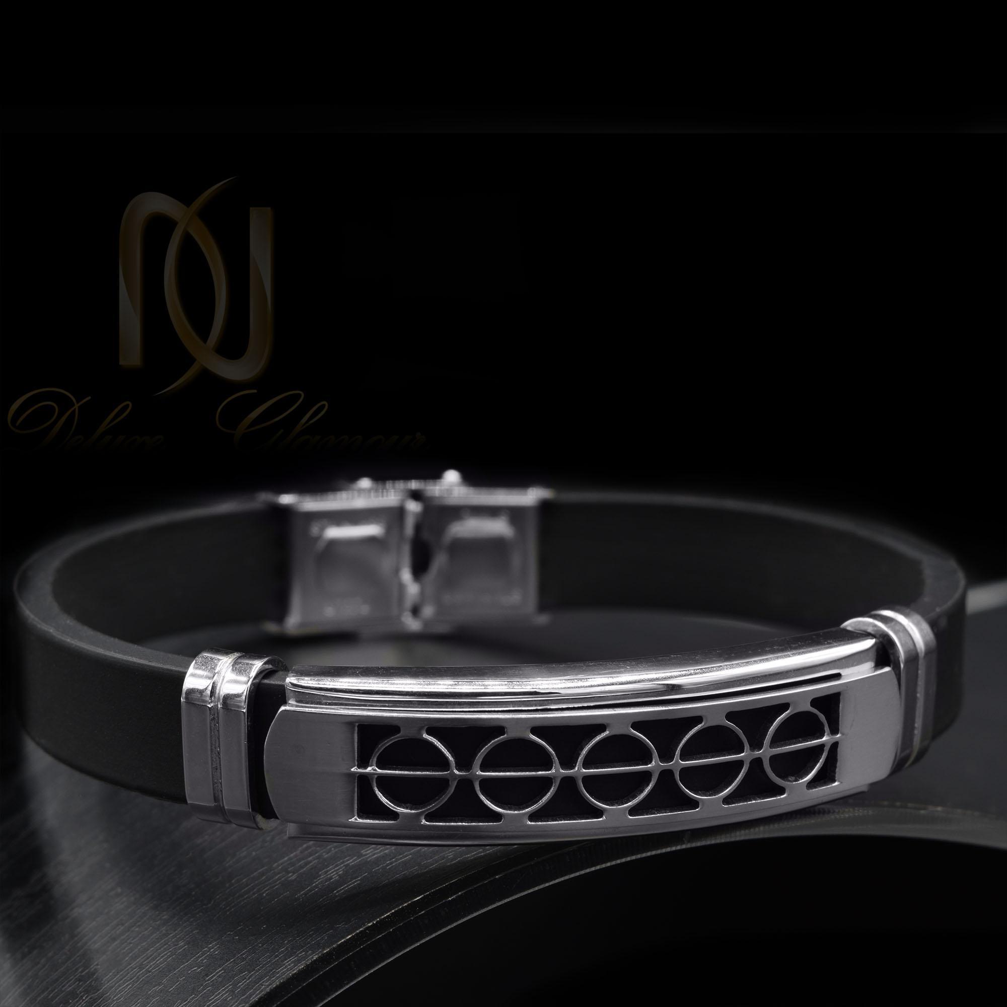 دستبند مردانه اسپرت مشکی رویه استیل ds-n439 از نمای مشکی