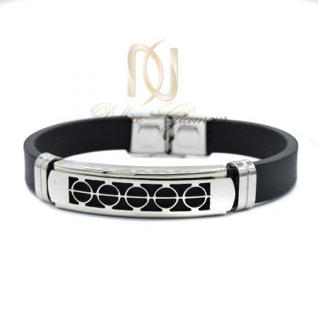 دستبند مردانه اسپرت مشکی رویه استیل ds-n439 از نمای سفید