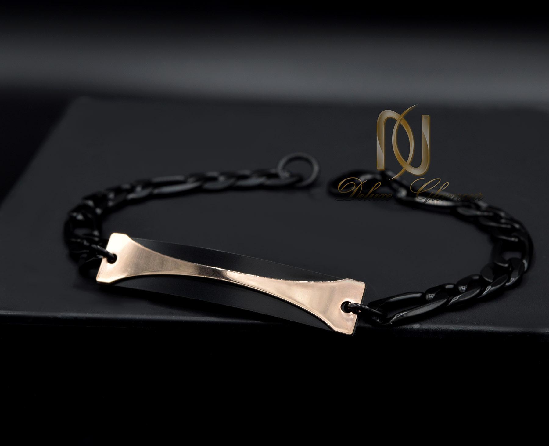 دستبند مردانه مشکی استیل اسپرت ds-n426 از نمای مشکی