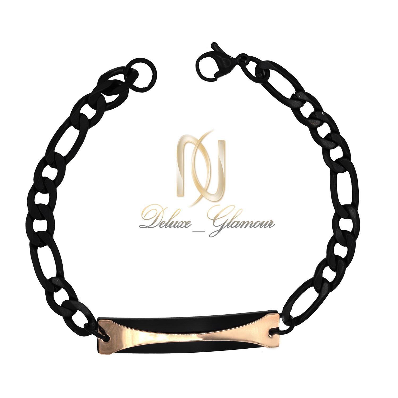 دستبند مردانه مشکی استیل اسپرت ds-n426 از نمای سفید