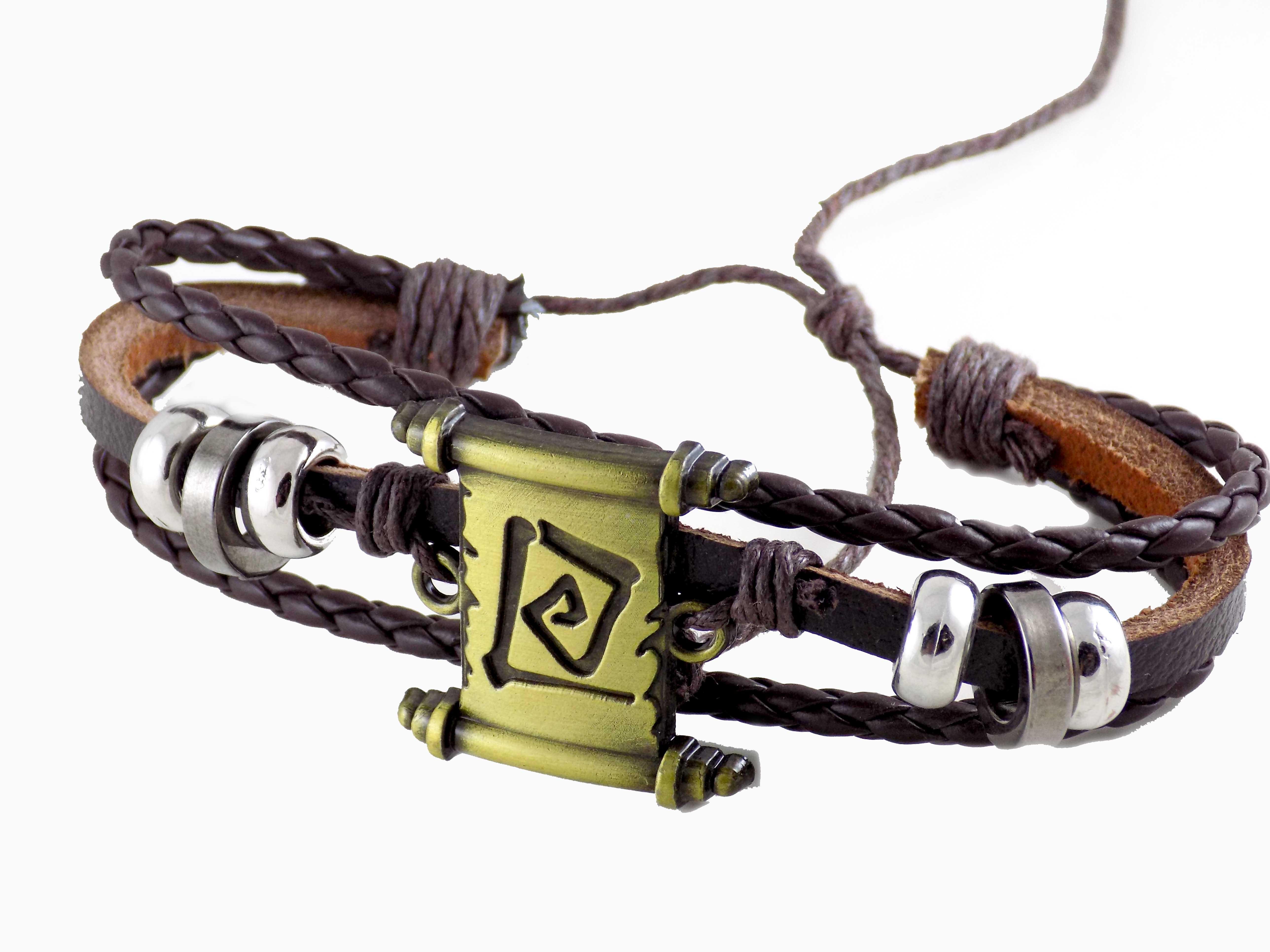 دستبند مردانه چرم اسپرت قهوه ای ds-n406 از نمای کنار