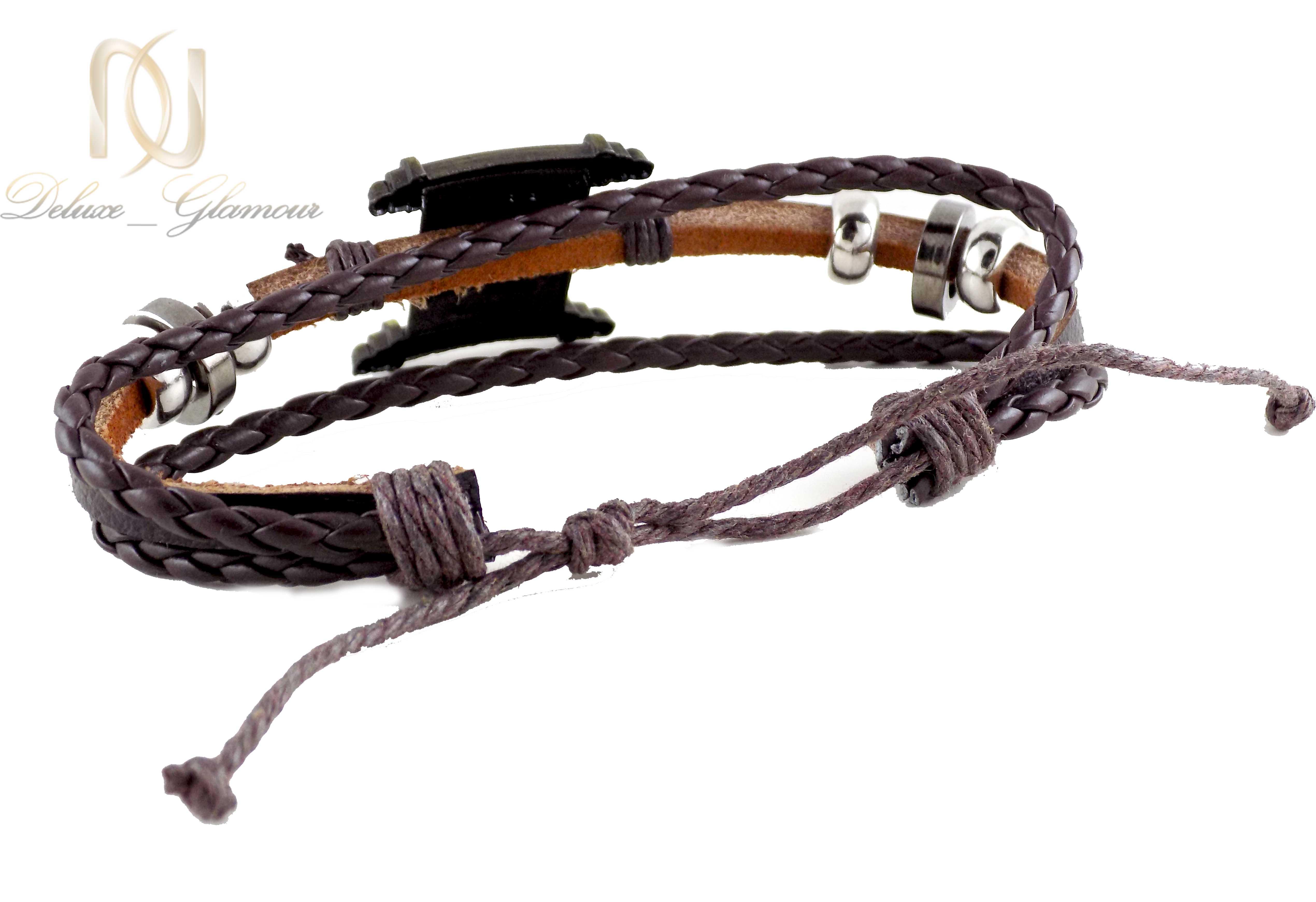 دستبند مردانه چرم اسپرت قهوه ای ds-n406 از نمای پشت