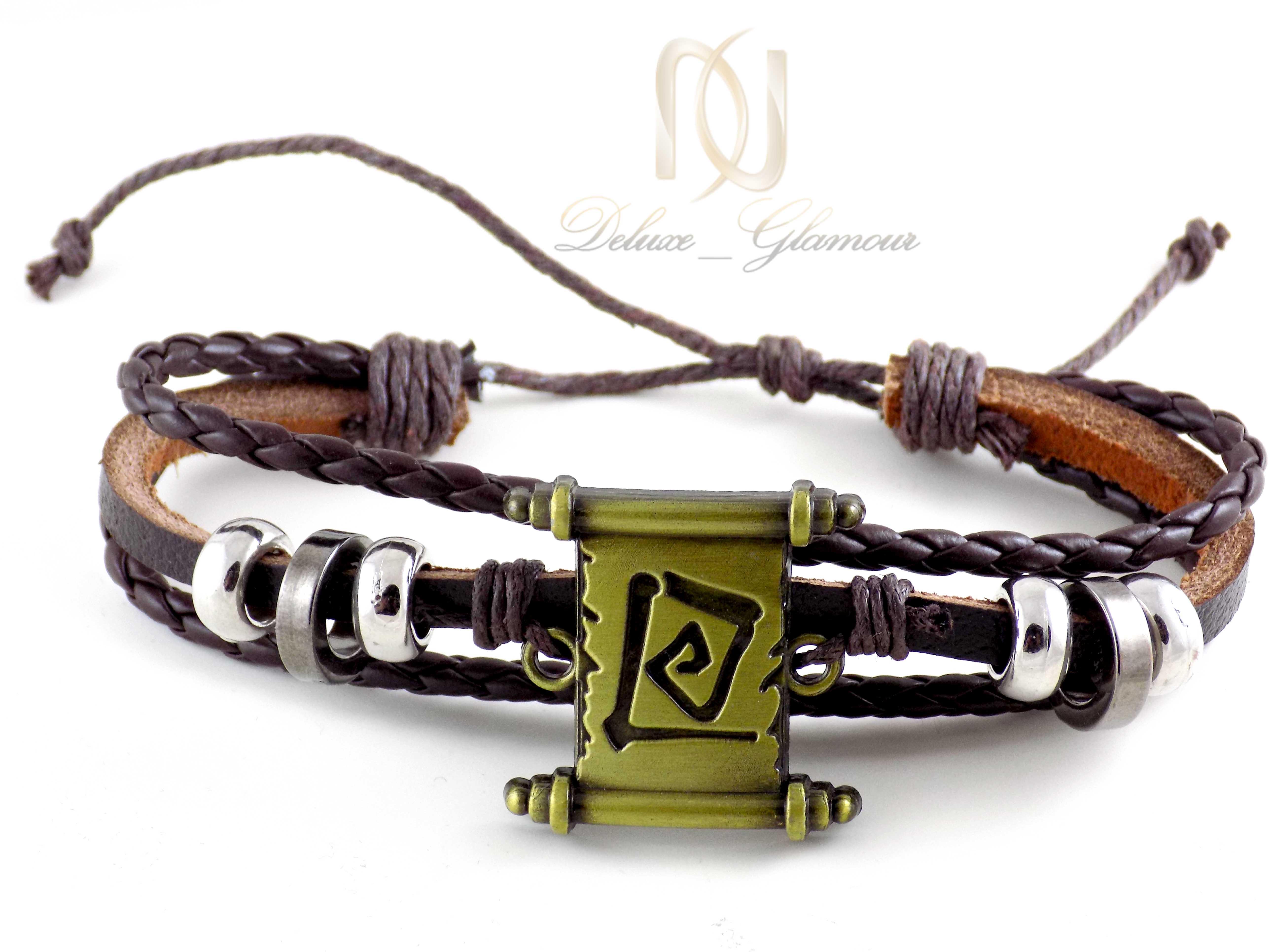 دستبند مردانه چرم اسپرت قهوه ای ds-n406 از نمای سفید