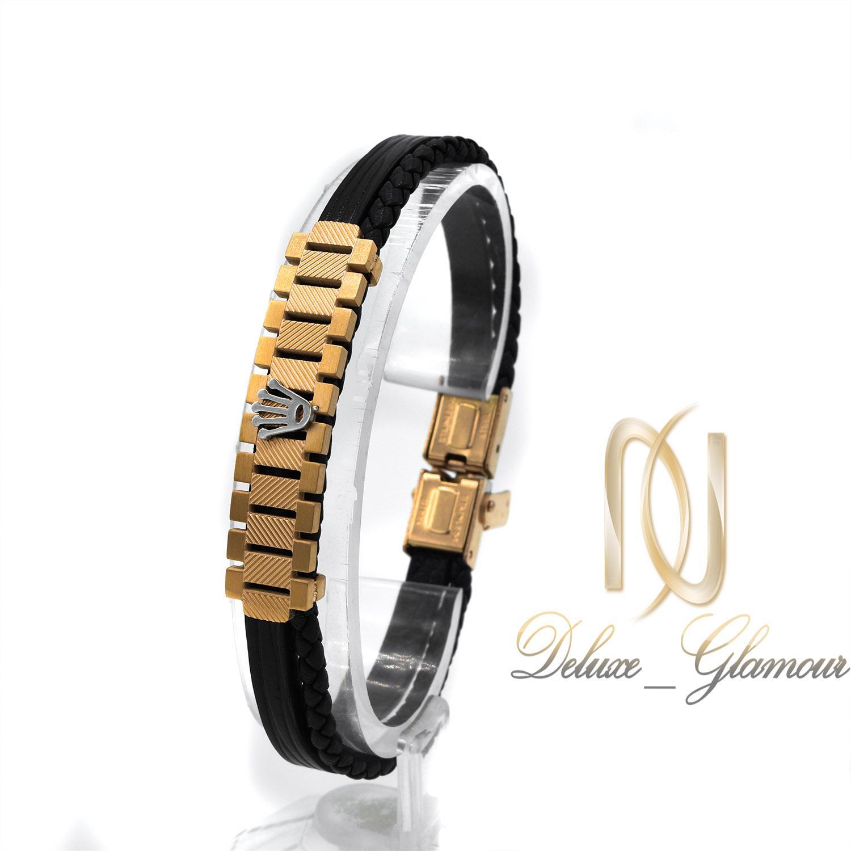 دستبند مردانه چرم اصل طرح رولکس ds-n432 از نمای کنار