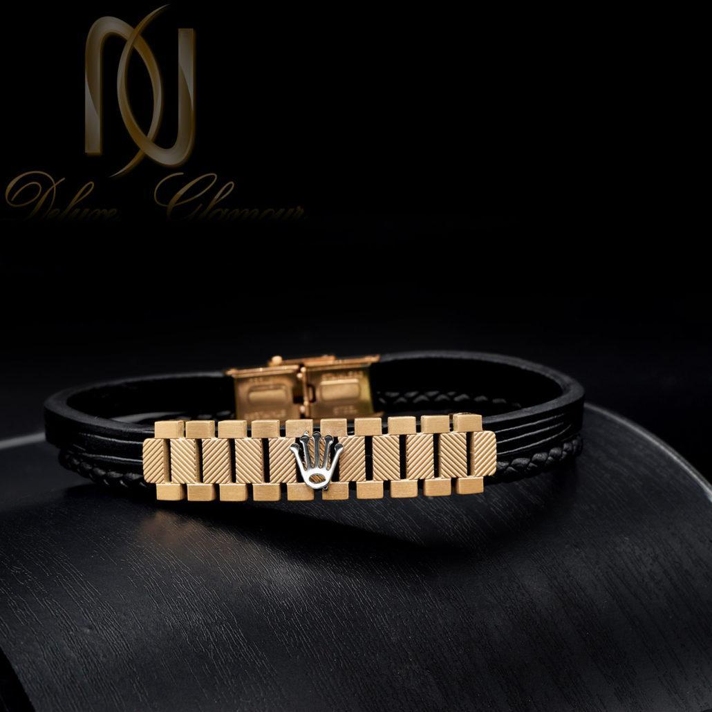 دستبند مردانه چرم اصل طرح رولکس ds-n432 از نمای مشکی