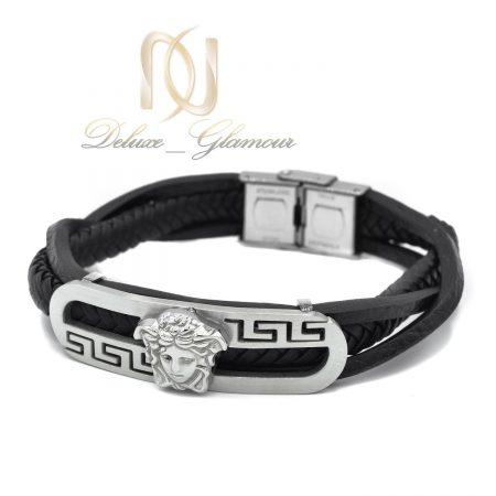 دستبند مردانه چرم اصل طرح ورساچه DS-N436 از نمای سفید