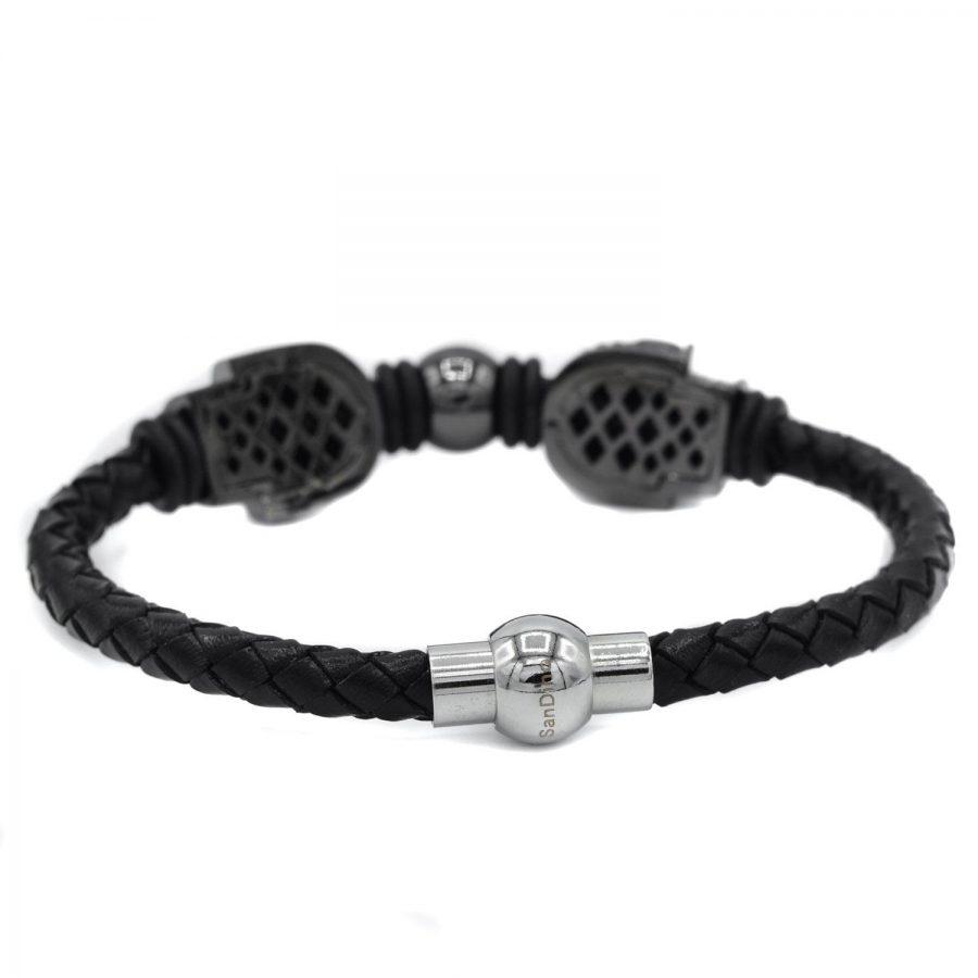 دستبند مردانه چرم خاص طرح ساندینو DS-N435 از نمای پشت