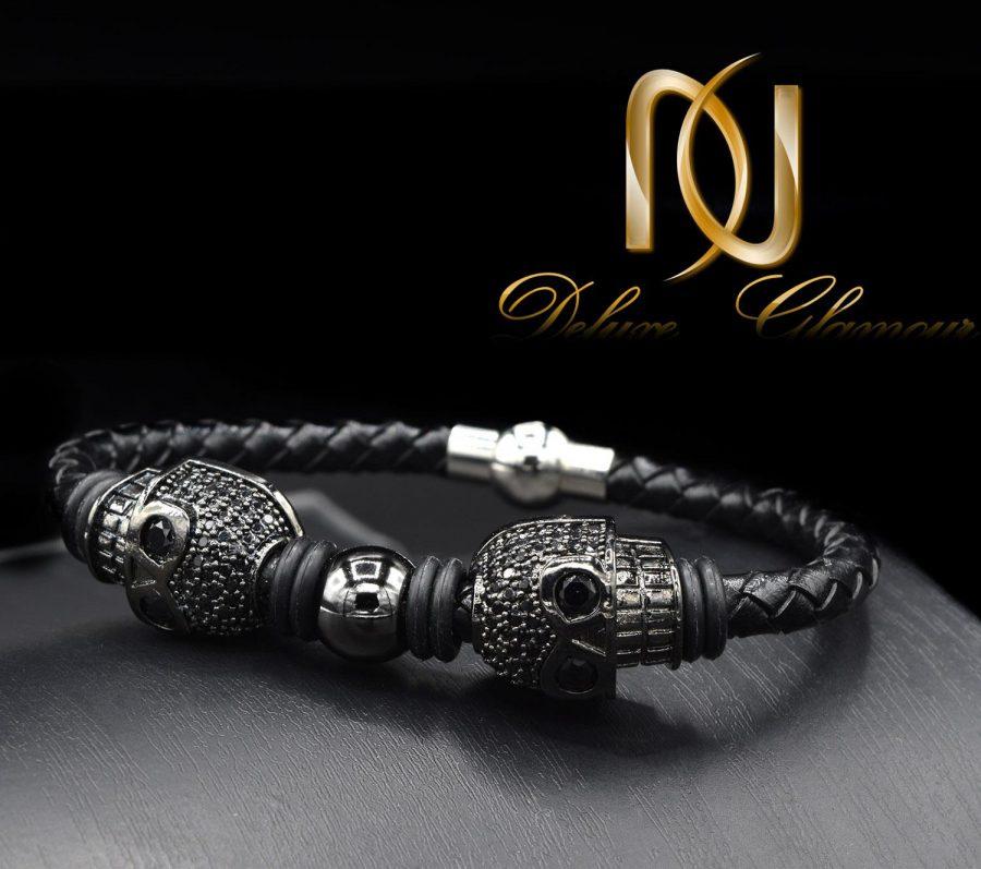 دستبند مردانه چرم خاص طرح ساندینو DS-N435 از نمای مشکی