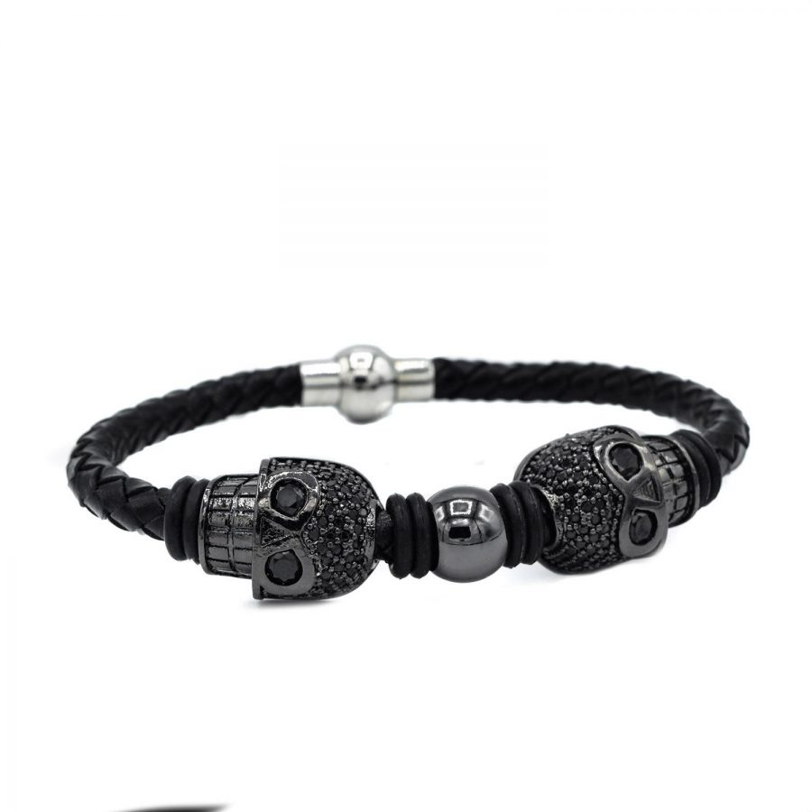 دستبند مردانه چرم خاص طرح ساندینو DS-N435 از نمای سفید