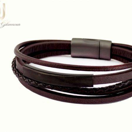 دستبند مردانه چرم قهوه ای 5 ردیفه ds-n428 از نمای روبرو